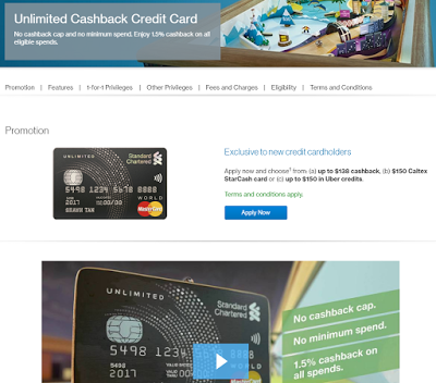 SCB's Unlimited 1.5% Cashback Credit Card