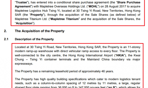 How to read a Singapore REIT's acquisition document – Tsing Yi Case study