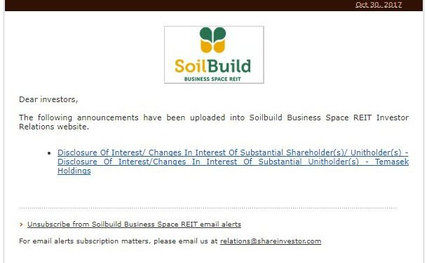 Temasek Sold 50K shares of SoilBuild Business Space REIT