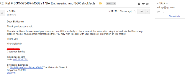 Unsatisfactory reply from SGX regarding SIAEC