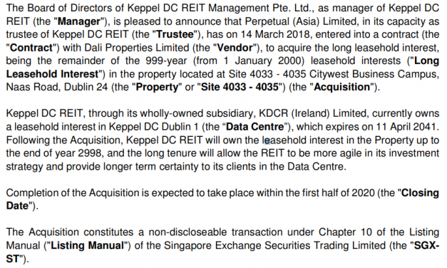 Keppel DC REIT Extends Dublin 1 Land Lease to 957 Years more with 30 mil Euros