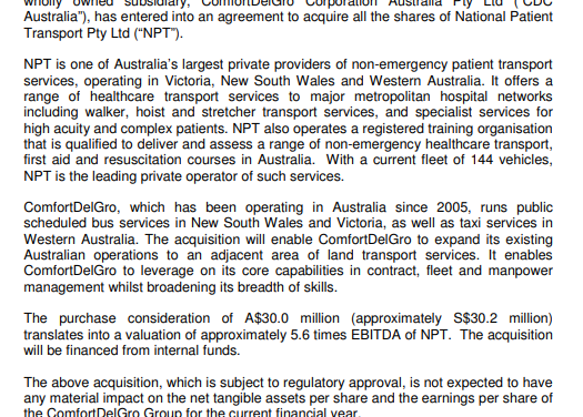 ComfortDelGro makes Small Acquisition of Australia Non-emergency Patient Transport Company