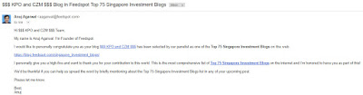 How Much is Our Blog Worth as One of the Top 75 Singapore Investment Blogs
