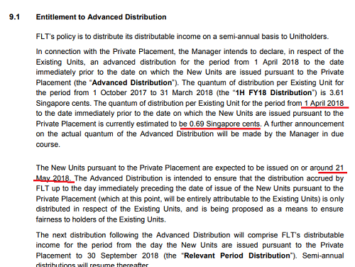 Seems FLT's Advanced Distribution Eventually Adjusted to 1.01 cents from 0.69 cents.