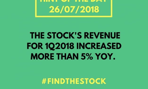 YOUR 2 HINTS OF THE DAY (26/7/18) FOR #FINDTHESTOCK CHALLENGE!