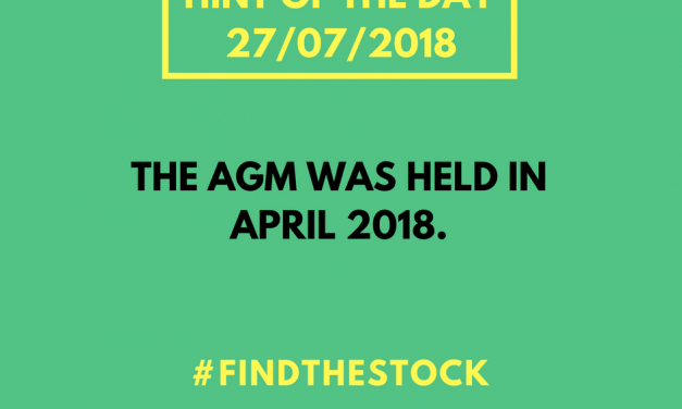 LAST 2 HINTS OF THE DAY (27/7/18) FOR #FINDTHESTOCK CHALLENGE!