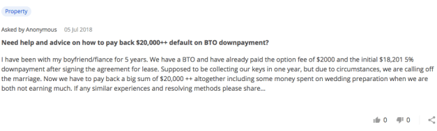 The Ugly Truth Of Break-Ups: Cost Of Defaulting On Your BTO