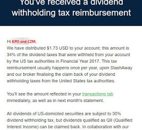 StashAway Withholding Tax Reimbursement FY 2017