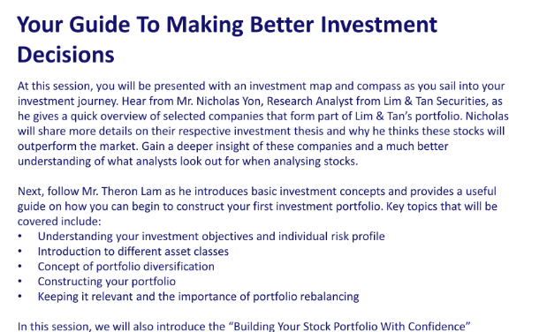 Upcoming Free Seminar on Tips and Strategies For Your Investment Portfolio!