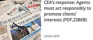 CEA's response: Agents must act responsibly to promote clients' interests