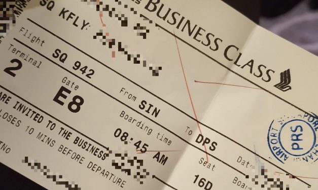 Turtle Fly Business Class : Singapore – Bali (SQ942/SQ947)