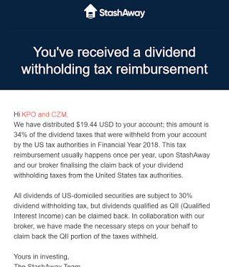 StashAway Withholding Tax Reimbursement FY 2018