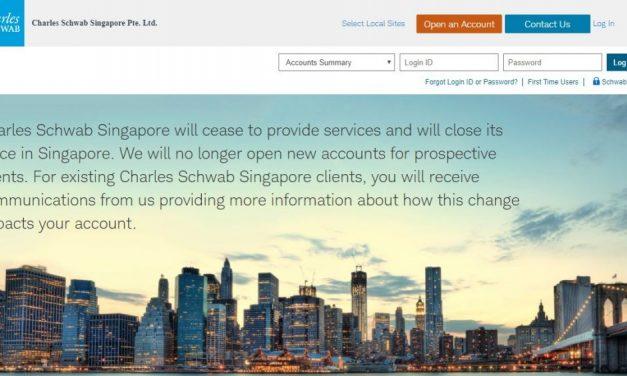 Discounted Online Broker Charles Schwab Singapore is closing