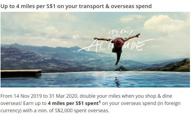 Get 4.0 MPD on all overseas spend on DBS Altitude, first 5,000 registrations only