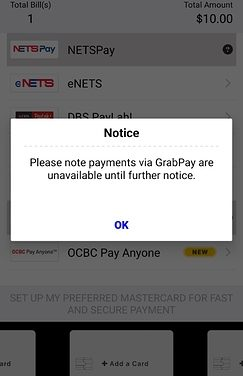 AXS has (for now) stopped accepting GrabPay
