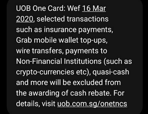 UOB One card will stop awarding rewards for Grab Wallet topup from 16 March