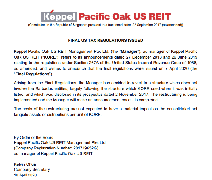 Manulife US REIT and Keppel Pacific OAK Reverts Back to Old Group Structure after Section 267A Finalization