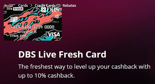 2 Months Promo: Get 10% cashback for online spending through DBS Live Fresh!