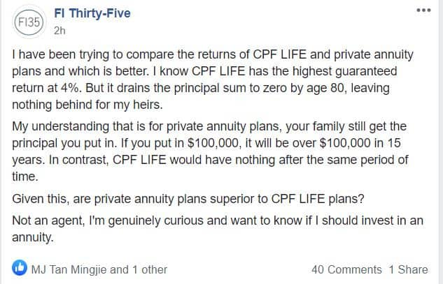 Are 'Private Annuity' Plans Superior to CPF? – A Gift for FI-35 and a Lesson for Others