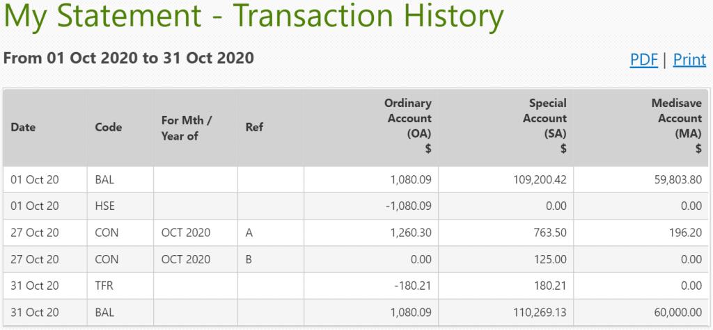 CPF Balances Update – October 2020