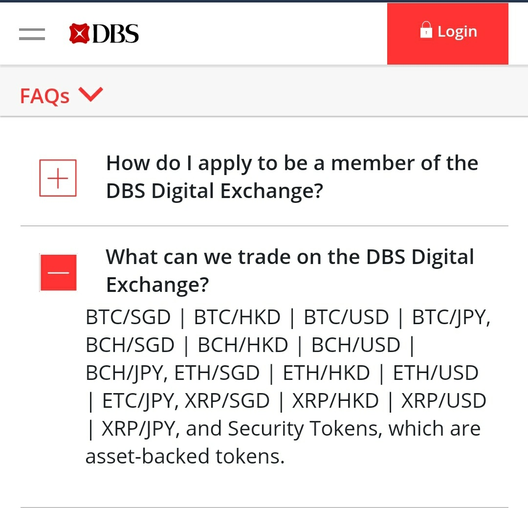 (Future) DBS Digital (Cryptocurrency) Exchange?
