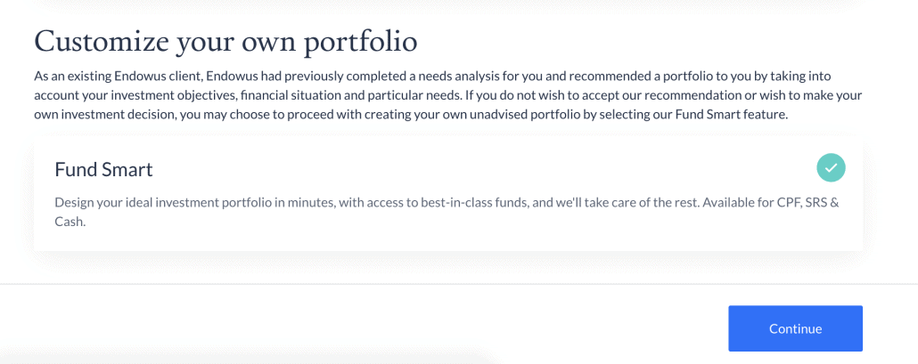 Building a custom investment portfolio on Endowus