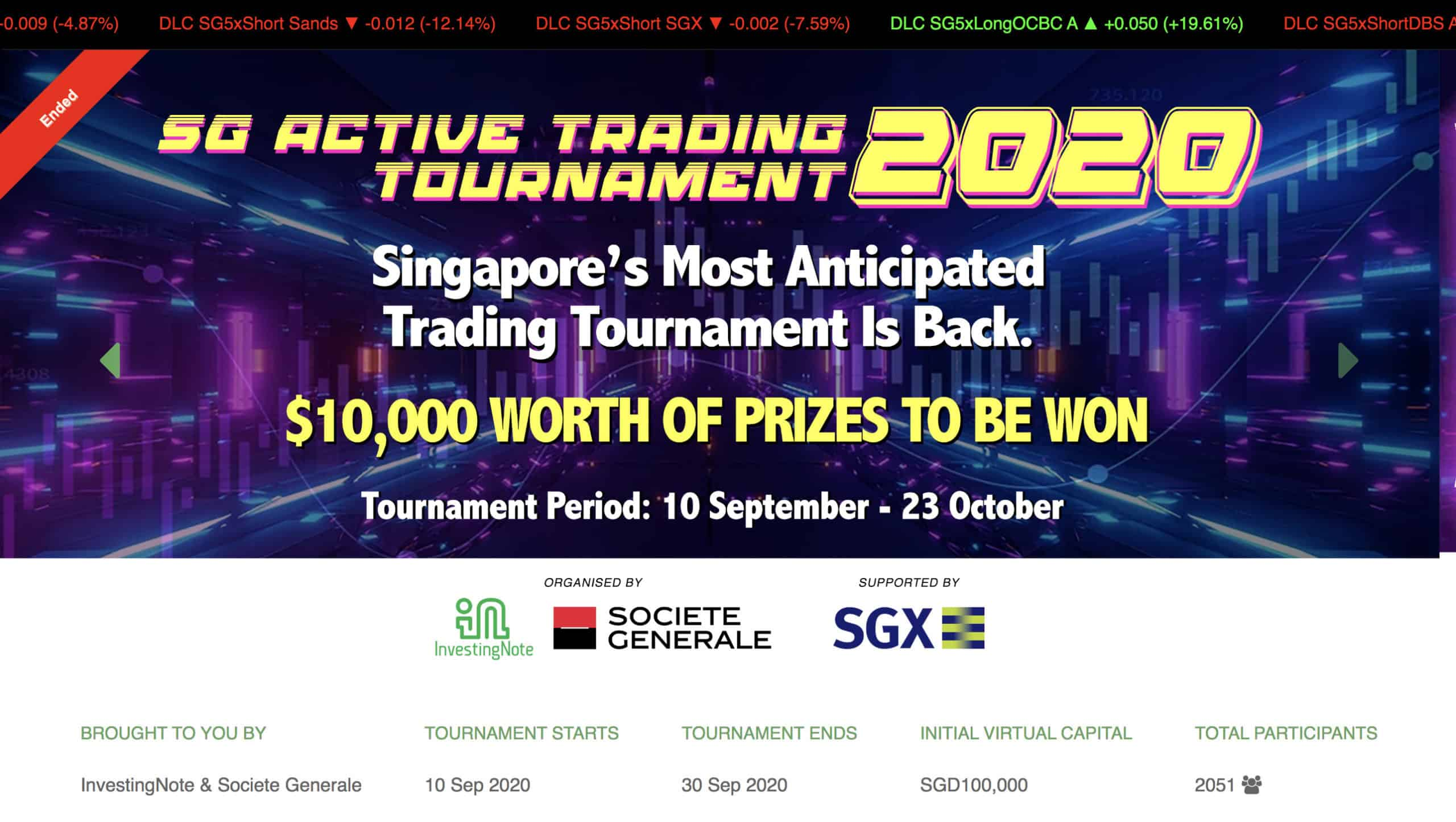 Congratulations to our Top 3 Finalists! SG ACTIVE TRADING TOURNAMENT 2020