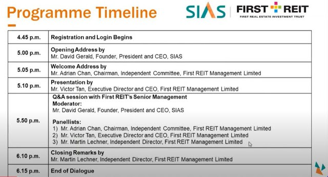 SIAS – First REIT Virtual Dialogue Session key highlight