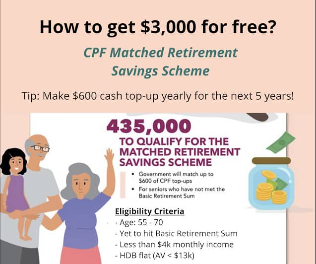 Top up $600 under the CPF Matched Retirement Savings Scheme