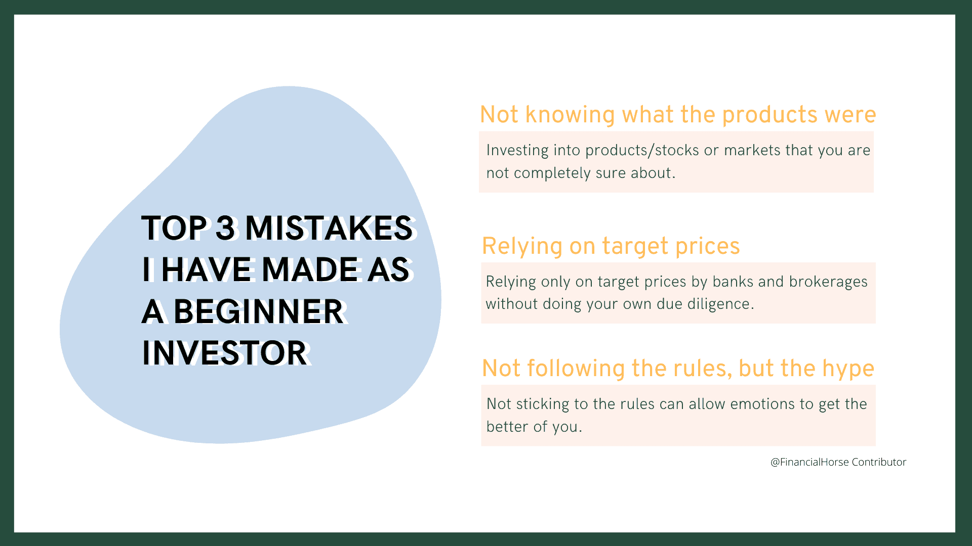 Top 3 Mistakes I've made as a Beginner Investor