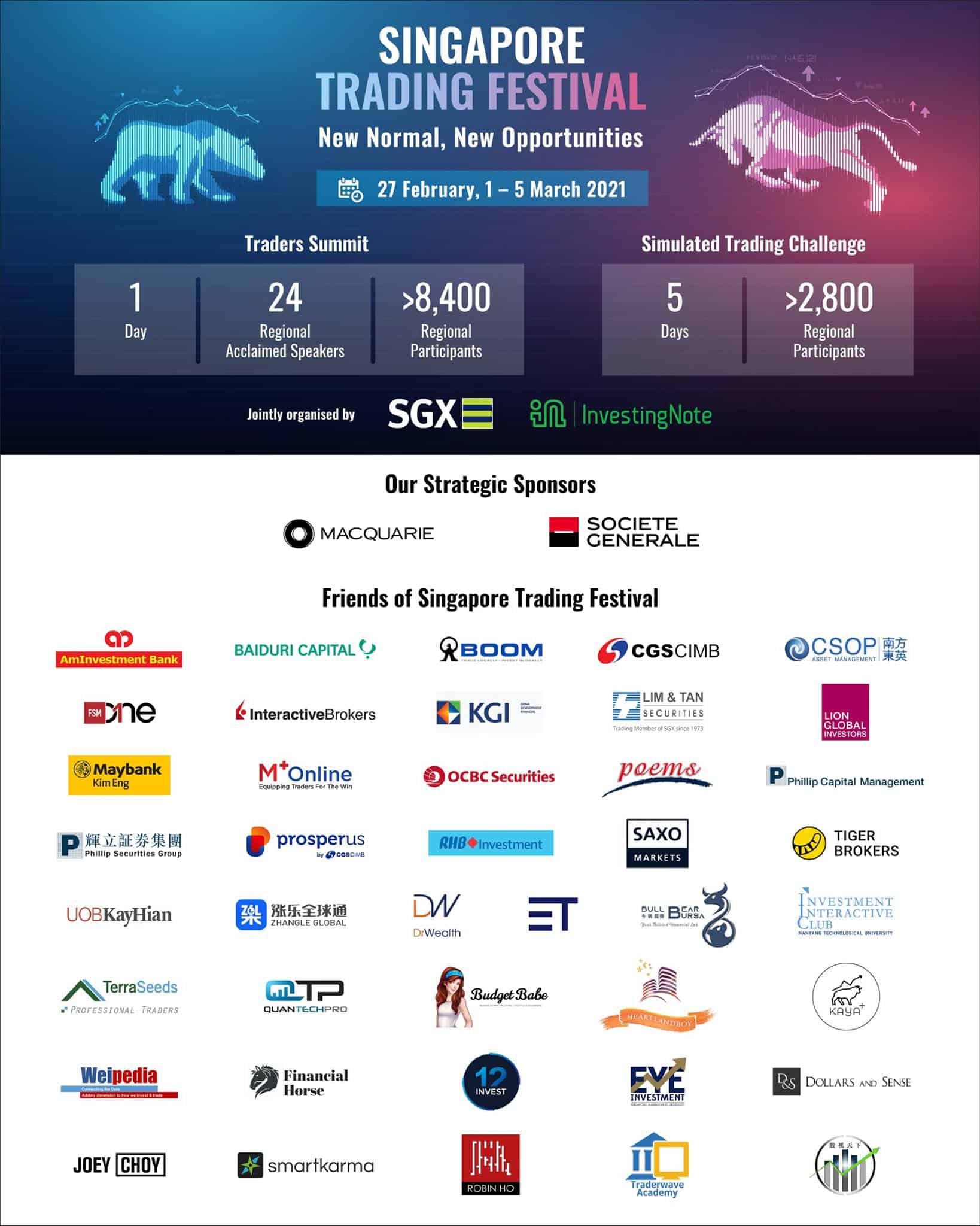 A big thank you to all our Sponsors and Friends of Singapore Trading Festival!