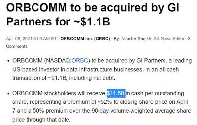Orbcomm Got Acquired. 3x My Position.