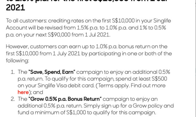 SingLife reduces interest rates to 1% on the SingLife account from 1 July 2021