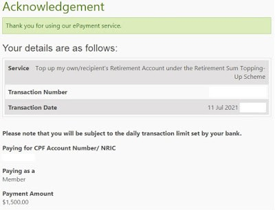 Started paying back my own CPF OA in Voluntary Housing Refund and Completed RSTU for mum's CPF RA